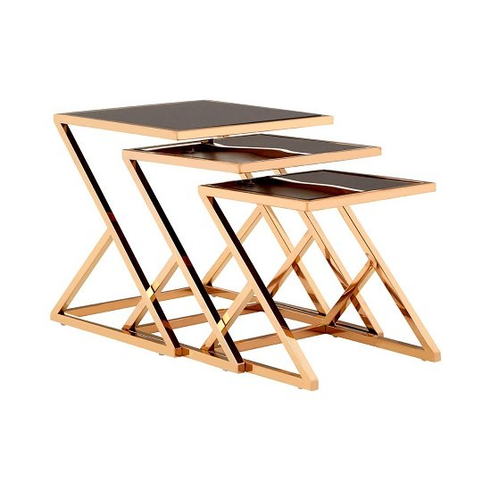 Orion Glass Nest of 3 Tables In Black With Rose Gold Frames_2