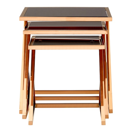 Orion Glass Nest of 3 Tables In Black With Rose Gold Frames_5