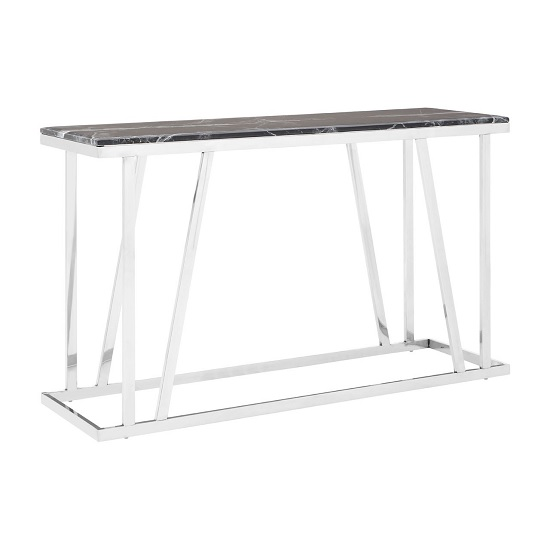 Orion Marble Console Table Rectangular In Black With Steel Frame