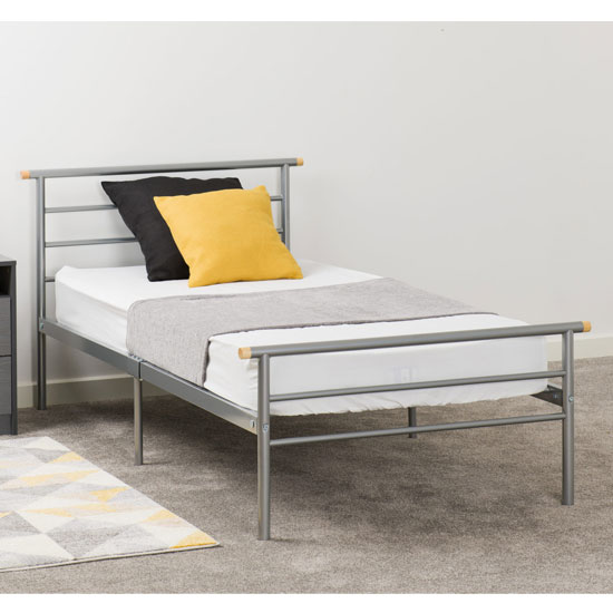 Orion Metal Single Bed In Silver