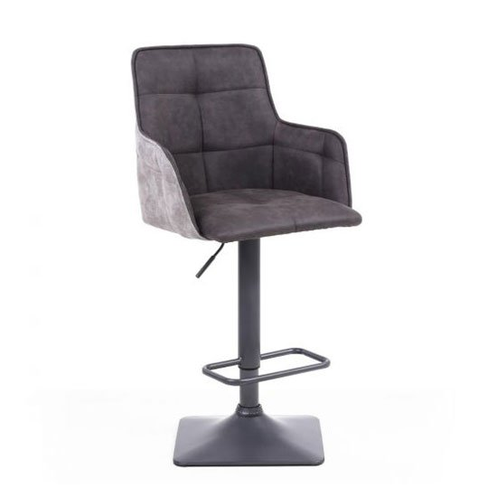 Orion Suede Effect Bar Stool In Dark Grey With Metal Base