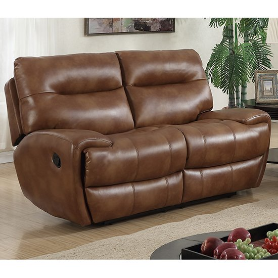 Orionis LeatherGel And PU Recliner 2 Seater Sofa In Brown