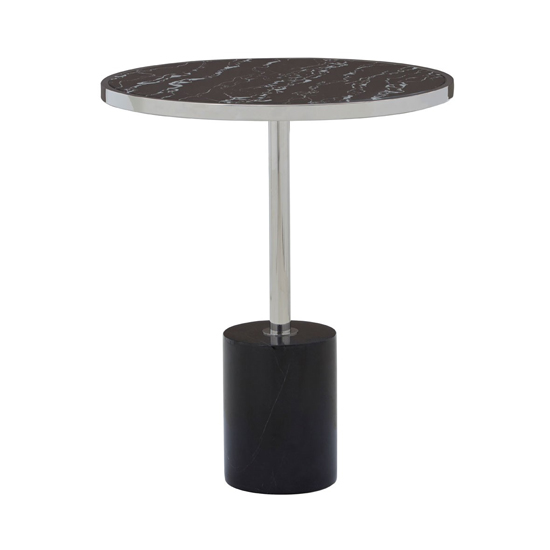 Orizone Black Marble End Table With Chrome Pedestal
