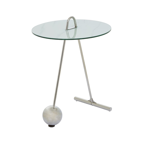 Orizone Glass End Table With Chrome Legs