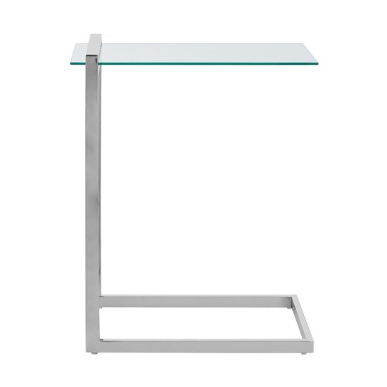 Orizone Glass End Table With Chrome Stainless Steel Legs