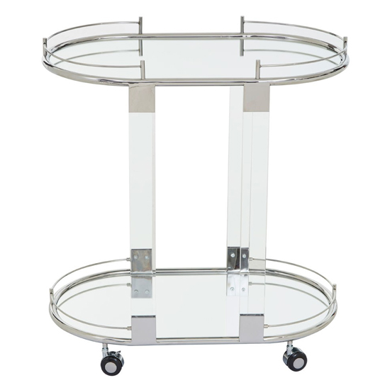 Orizone Mirrored Drinks Trolley With Silver Frame_2