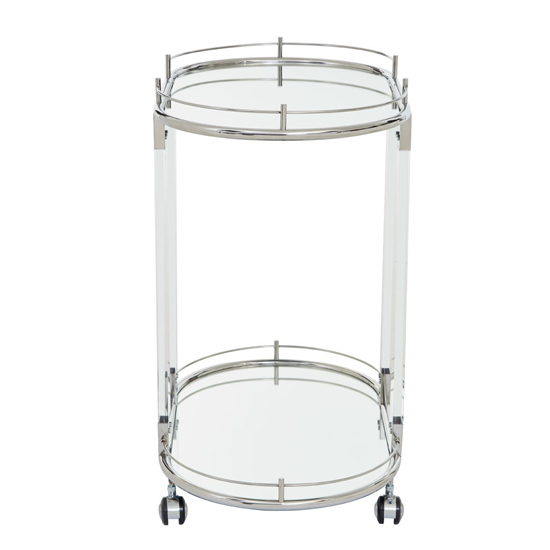 Orizone Mirrored Drinks Trolley With Silver Frame_3