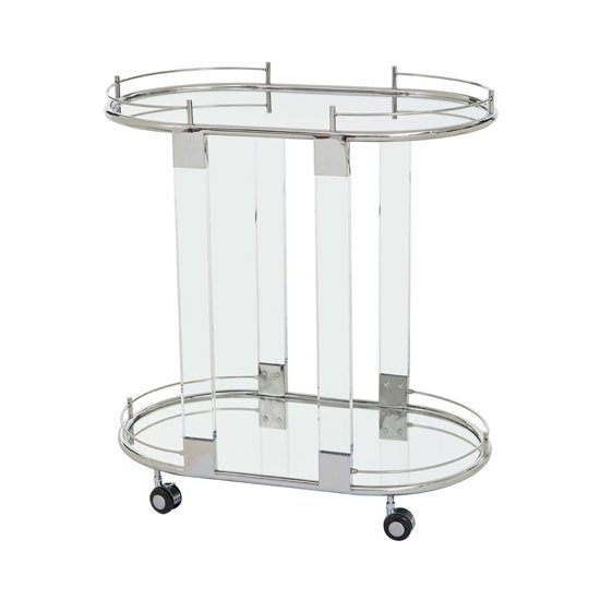 Orizone Mirrored Drinks Trolley With Silver Frame_1