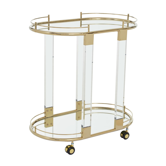 Orizone Mirrored Drinks Trolley With Warm Metallic Frame