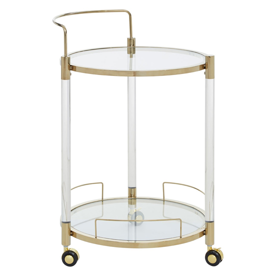 Orizone Round Clear Glass Drinks Trolley With Gold Frame_2