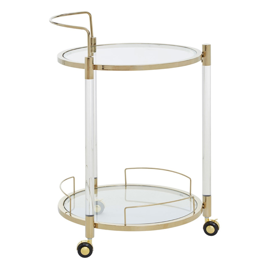 Orizone Round Clear Glass Drinks Trolley With Gold Frame_3