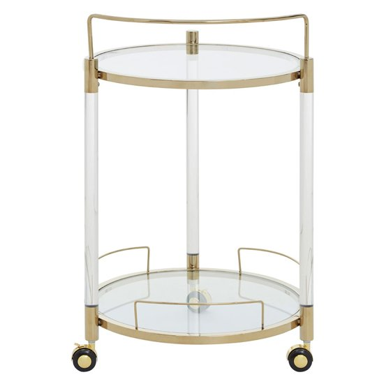 Orizone Round Clear Glass Drinks Trolley With Gold Frame_4