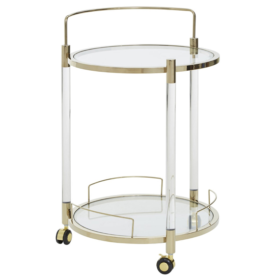Orizone Round Clear Glass Drinks Trolley With Gold Frame