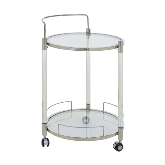 Orizone Round Clear Glass Drinks Trolley With Silver Frame