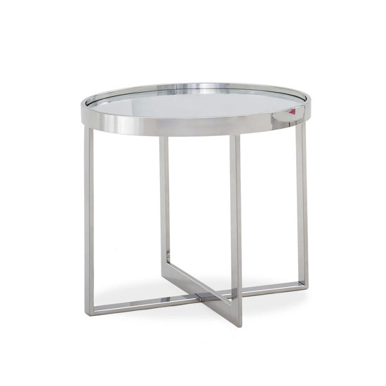 Orla Glass Top End Table In Clear With Polished Steel Base