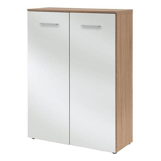 Orlando Shoe Storage Cabinet In Sonoma Oak And Glass White_3