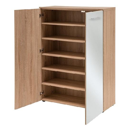 orlando shoe storage cabinet in sonoma oak and glass white