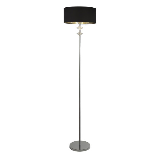 Orleans Chrome Floor Lamp With Black Shade And Silver Inner