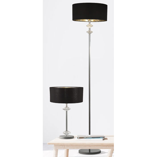 Orleans Chrome Table Lamp With Black Shade And Silver Inner_2