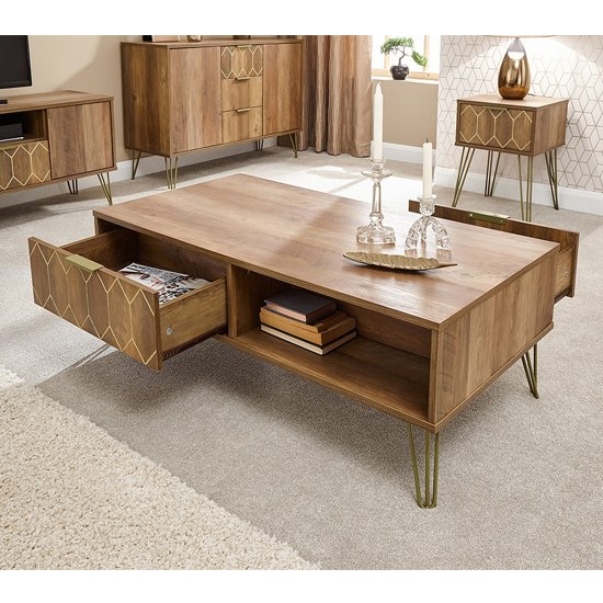 Orleans Coffee Table In Mango Wood Effect With 2 Drawer_2