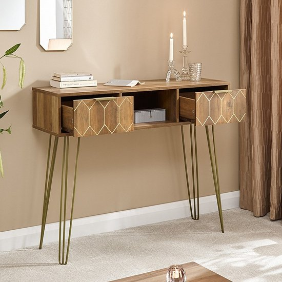 Orleans Console Table In Mango Wood Effect With 2 Drawers_2