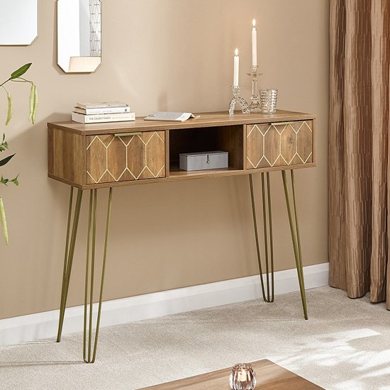 Orleans Console Table In Mango Wood Effect With 2 Drawers_1