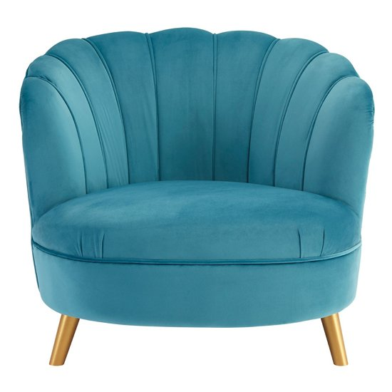 Lusitania Blue Velvet Chair With Gold Wooden Legs
