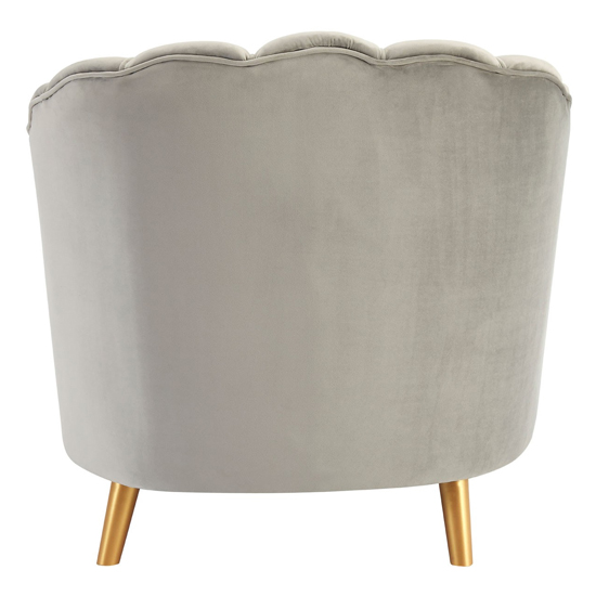 Lusitania Grey Velvet Chair With Gold Wooden Legs    _4