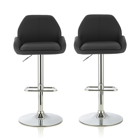 Ormond Bar Stool In Black Faux Leather And Chrome Base In A Pair