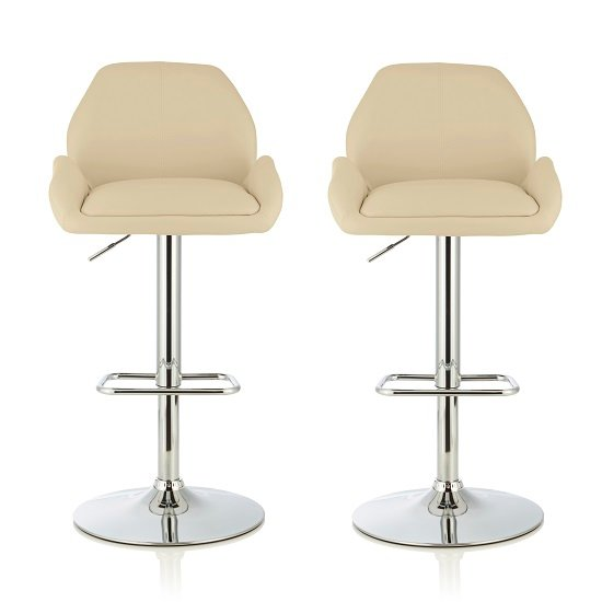 Ormond Bar Stool In Cream Faux Leather And Chrome Base In A Pair