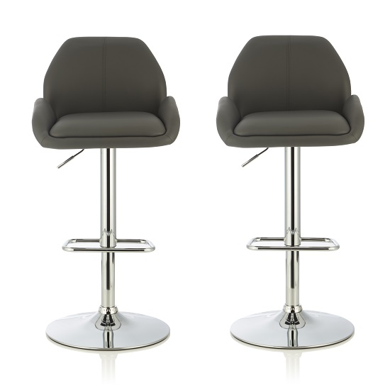 Ormond Bar Stools In Grey Faux Leather And Chrome Base In A Pair