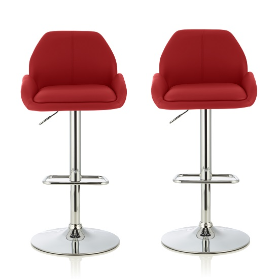Ormond Bar Stools In Red Faux Leather And Chrome Base In A Pair
