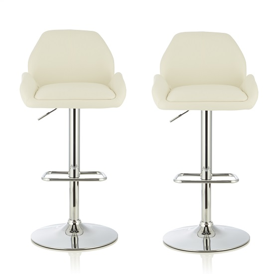 Ormond Bar Stool In White Faux Leather And Chrome Base In A Pair