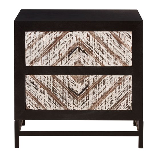 Orphee Clean Lined Wooden Bedside Cabinet In Black