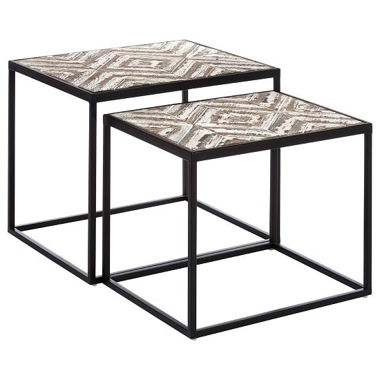 Orphee Wooden Set of 2 Side Tables With Metal Frame