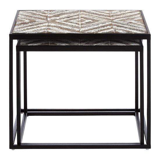 Orphee Wooden Set of 2 Side Tables With Metal Frame_2