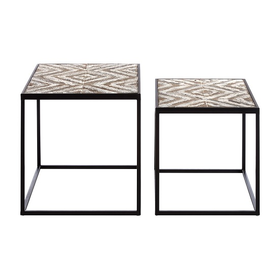 Orphee Wooden Set of 2 Side Tables With Metal Frame_3