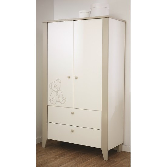 Image of Orsang Childrens Wardrobe In White With 2 Doors And 2 Drawers