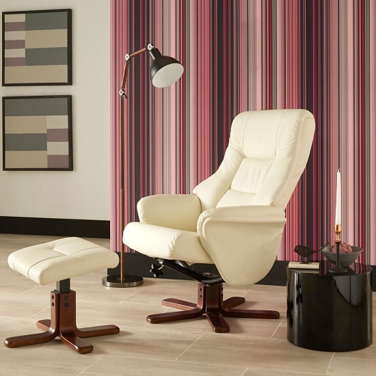 Orsina Contemporary Recliner Chair In Cream Faux Leather
