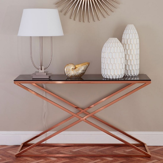 Orson Glass Console Table In Smoked Amber With Gold Finish Frame