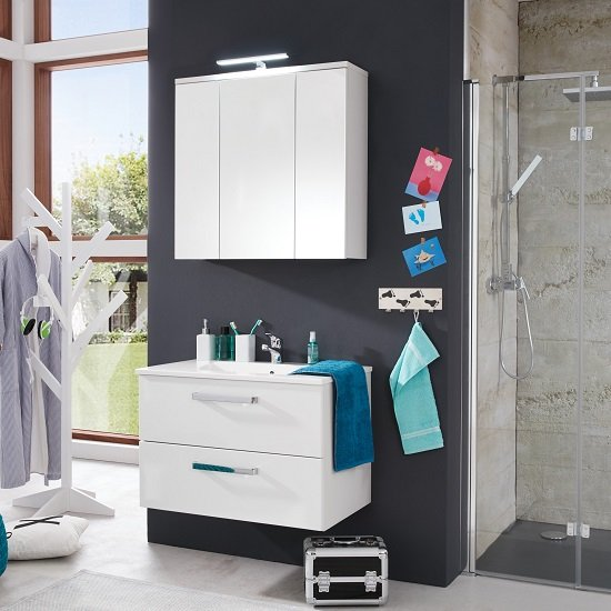 Orson Bathroom Set 2 In White And High Gloss Fronts With LED