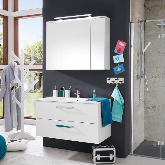 Orson Bathroom Set 4 In White And High Gloss Fronts With LED