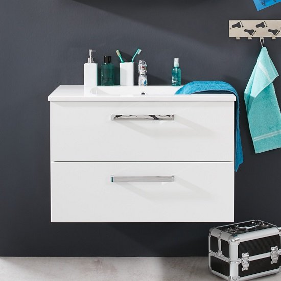 Orson Vanity Cabinet In High Gloss Fronts With Sink And 2 Drawer