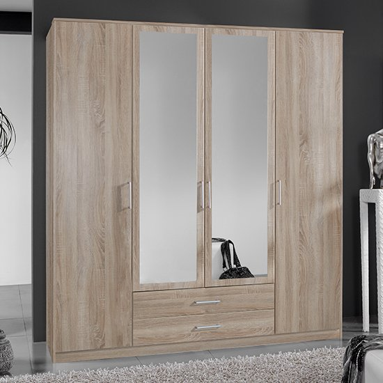 Osaka Mirrored Large Wooden Wardrobe In Oak Effect