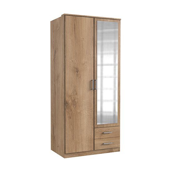Osaka Mirrored Wardrobe In Planked Oak With 2 Doors 2 Drawers