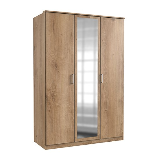 Osaka Mirrored Wardrobe In Planked Oak With 3 Doors