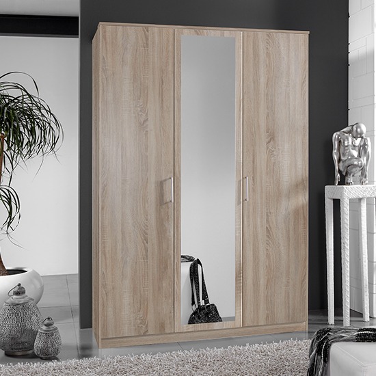Osaka Mirrored Wooden Wardrobe In Oak Effect