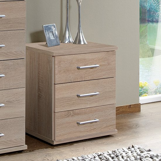 Osaka Wooden Chest Of Drawers In Oak Effect With 3 Drawers