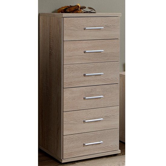 Osaka Wooden Chest Of Drawers In Oak Effect With 5 Drawers