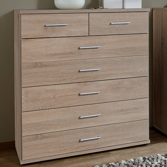 Osaka Wooden Chest Of Drawers In Oak Effect With 7 Drawers